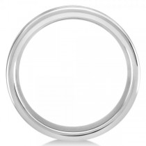Men's Flat Ridged Wedding Ring Band in White Tungsten (8.3mm)