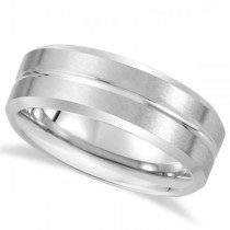 Men's Beveled Band with Grooved Center in White Tungsten (8.3mm)