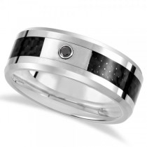 Diamond Beveled Wedding Band in Tungsten w Carbon Fiber 0.05ct (8.3mm)