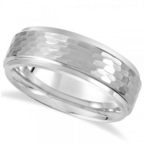 Men's Ridged Wedding Ring Band with Bark Finish in Tungsten (8.3mm)