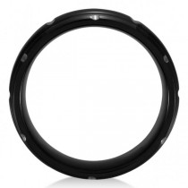 Men's Grooved Wedding Ring Band in Black PVD Tungsten (8.3mm)