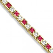 Princess Cut Ruby & Round Diamond Tennis Bracelet 14k Y. Gold 1.60ct