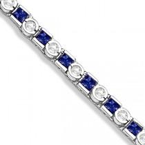 Princess Cut Sapphire & Diamond Tennis Bracelet 14k W. Gold 1.60ct