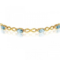 Oval Aquamarine & Diamond Infinity Bracelet in 14k Yellow Gold 4.53ct