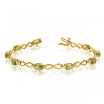 Oval Peridot & Diamond Infinity Bracelet in 14k Yellow Gold (4.53ct)