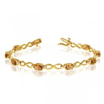 Oval Citrine & Diamond Infinity Bracelet in 14k Yellow Gold (4.53ct)