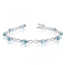 Oval Aquamarine & Diamond Infinity Bracelet in 14k White Gold 4.53ct