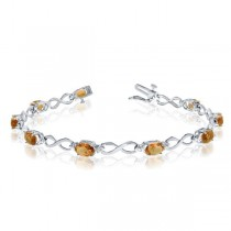 Oval Citrine & Diamond Infinity Bracelet in 14k White Gold (4.53ct)