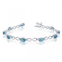 Oval Blue Topaz & Diamond Infinity Bracelet 14k White Gold (4.53ct)