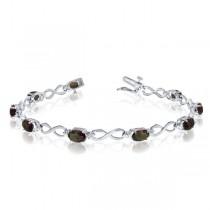 Oval Mystic Topaz & Diamond Infinity Bracelet 14k White Gold (4.53ct)