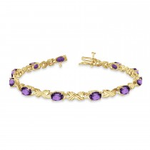 Amethyst & Diamond XOXO Link Bracelet 14k Yellow Gold (6.65ct)