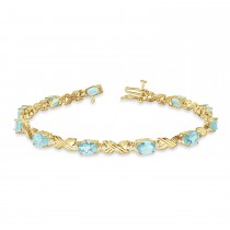 Aquamarine & Diamond XOXO Link Bracelet 14k Yellow Gold (6.65ct)