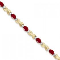 Ruby & Diamond XOXO Link Bracelet in 14k Yellow Gold (6.65ct)