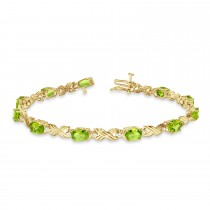 Peridot & Diamond XOXO Link Bracelet 14k Yellow Gold (6.65ct)