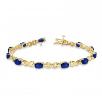 Blue Sapphire & Diamond XOXO Link Bracelet 14k Yellow Gold (6.65ct)
