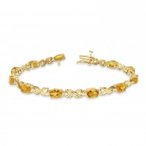 Citrine & Diamond XOXO Link Bracelet 14k Yellow Gold (6.65ct)