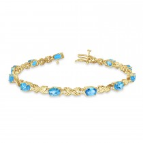 Blue Topaz & Diamond XOXO Link Bracelet 14k Yellow Gold (6.65ct)