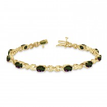 Mystic Topaz & Diamond XOXO Link Bracelet 14k Yellow Gold (6.65ct)