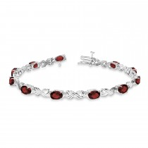 Garnet & Diamond XOXO Link Bracelet in 14k White Gold (6.65ct)