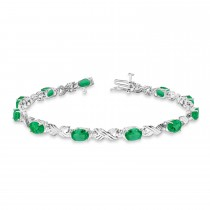 Emerald & Diamond XOXO Link Bracelet in 14k White Gold (6.65ct)