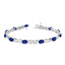 Blue Sapphire & Diamond XOXO Link Bracelet in 14k White Gold (6.65ct)