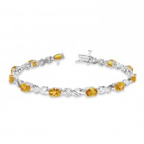 Citrine & Diamond XOXO Link Bracelet in 14k White Gold (6.65ct)