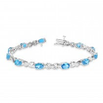 Blue Topaz & Diamond XOXO Link Bracelet in 14k White Gold (6.65ct)