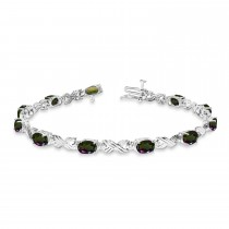 Mystic Topaz & Diamond XOXO Link Bracelet in 14k White Gold (6.65ct)