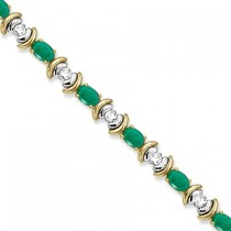Emerald & Diamond Link Tennis Bracelet in 14k Yellow Gold (8.20ct)