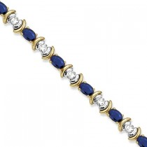 Blue Sapphire & Diamond Link Tennis Bracelet 14k Yellow Gold (8.20ct)