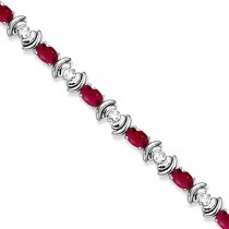 Ruby & Diamond Link Tennis Bracelet in 14k White Gold (8.20ct)