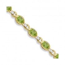Oval Peridot & Diamond Link Bracelet 14k Yellow Gold (9.62ctw)