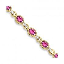 Oval Pink Topaz & Diamond Link Bracelet 14k Yellow Gold (9.62ctw)
