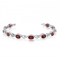 Oval Garnet & Diamond Link Bracelet 14k White Gold (9.62ctw)