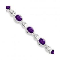 Oval Amethyst & Diamond Link Bracelet 14k White Gold (9.62ctw)