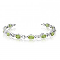 Oval Peridot & Diamond Link Bracelet 14k White Gold (9.62ctw)