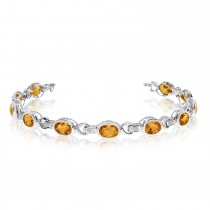 Oval Citrine & Diamond Link Bracelet 14k White Gold (9.62ctw)