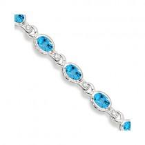Oval Blue Topaz & Diamond Link Bracelet 14k White Gold (9.62ctw)