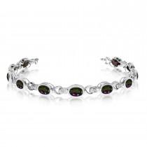Oval Mystic Topaz & Diamond Link Bracelet 14k White Gold (9.62ctw)