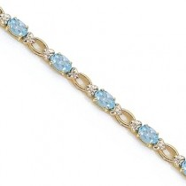 Oval Aquamarine and Diamond Link Bracelet 14k Yellow Gold (6.72 ctw)