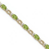Oval Peridot and Diamond Link Bracelet 14k Yellow Gold (6.72 ctw)