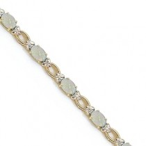 Oval Opal and Diamond Link Bracelet 14k Yellow Gold (6.72 ctw)