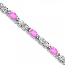 Oval Pink Sapphires Love Knot Link Bracelet 14k White Gold (5.50ct)