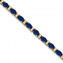 Diamond & Oval Cut Sapphire Tennis Bracelet 14k Yellow Gold (9.25ctw)