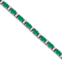Diamond & Oval Cut Emerald Tennis Bracelet 14k White Gold (9.25ctw)