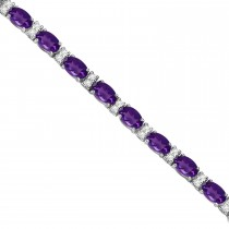 Diamond & Oval Cut Amethyst Tennis Bracelet 14k White Gold (9.25ct)