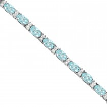 Diamond & Oval Cut Aquamarine Tennis Bracelet 14k White Gold (9.25ct)