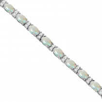 Diamond & Oval Cut Opal Tennis Bracelet 14k White Gold (9.25ct)