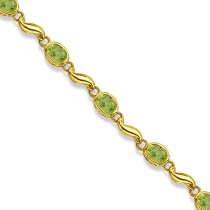 Bezel-Set Oval Peridot Bracelet in 14K Yellow Gold (7x5 mm)