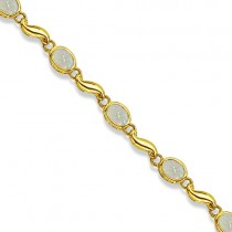 Bezel-Set Oval Opal Bracelet in 14K Yellow Gold (7x5 mm)